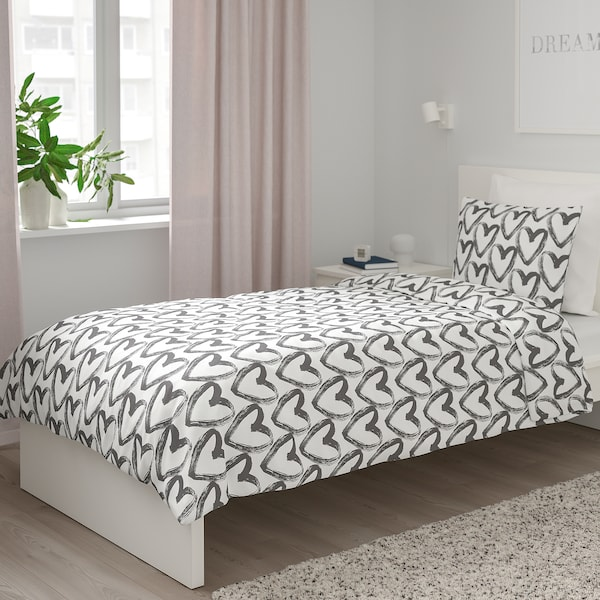 LYKTFIBBLA Quilt cover and pillowcase, white/grey, 150x200/50x80 cm