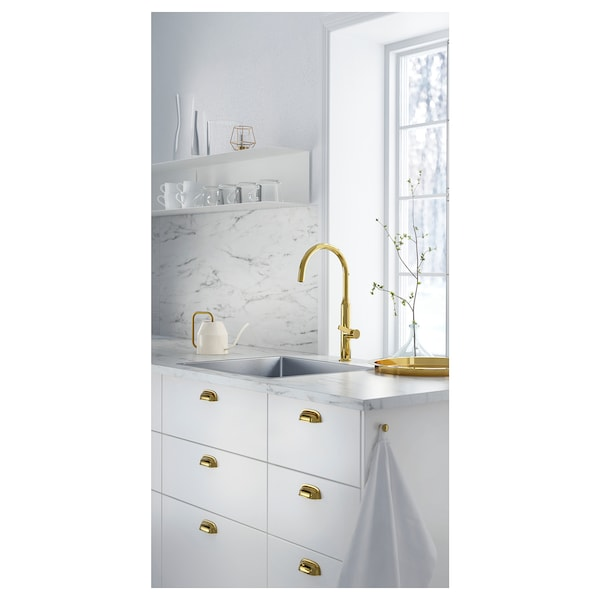 LYSEKIL Wall panel, double sided white marble effect/patterned, 119.6x55 cm