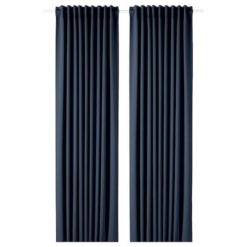 MAJGULL block-out curtains, 1 pair dark blue 250 cm 145 cm 2.00 kg 3.63 m² 2 pieces