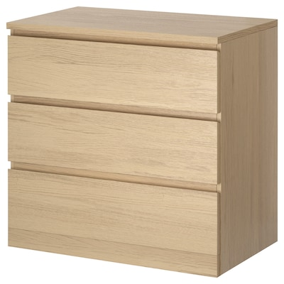 MALM Chest of 3 drawers, white stained oak veneer, 80x78 cm