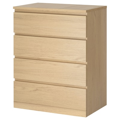 MALM Chest of 4 drawers, white stained oak veneer, 80x100 cm