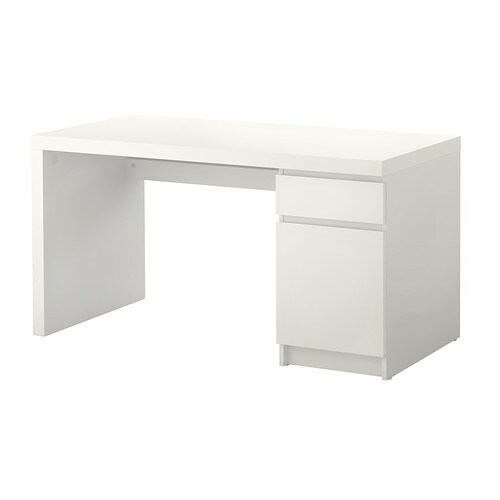 MALM Desk   Cable shelf under the table top; keep sockets and cables out of sight and the work surface uncluttered.