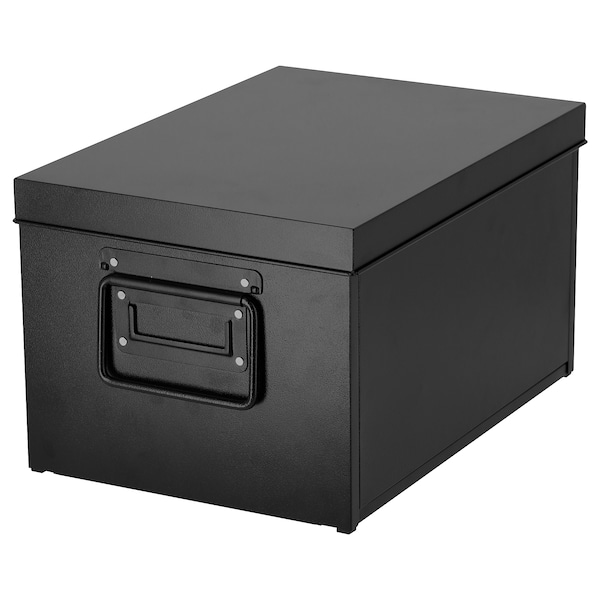 MANICK Box with lid, black, 25x35x20 cm