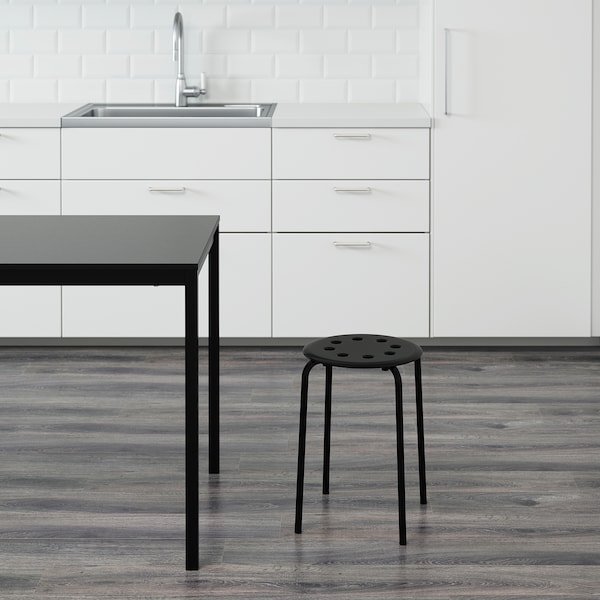 MARIUS Stool, black, 45 cm