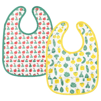 MATVRÅ Bib, fruit/vegetables pattern/green yellow