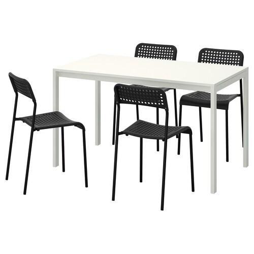 MELLTORP / ADDE table and 4 chairs white/black 125 cm 75 cm 74 cm