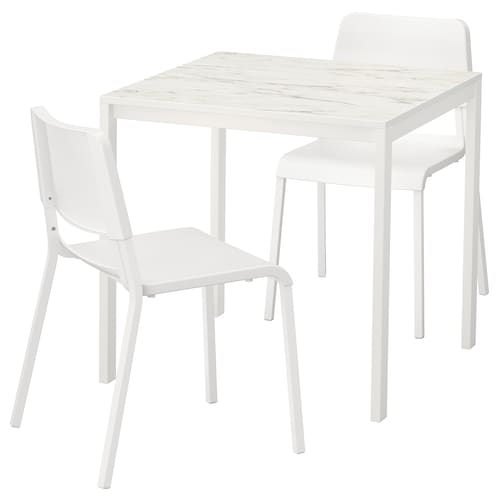 MELLTORP / TEODORES table and 2 chairs white marble effect/white 75 cm 75 cm