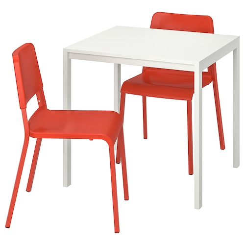 MELLTORP / TEODORES table and 2 chairs white/bright orange 75 cm 75 cm