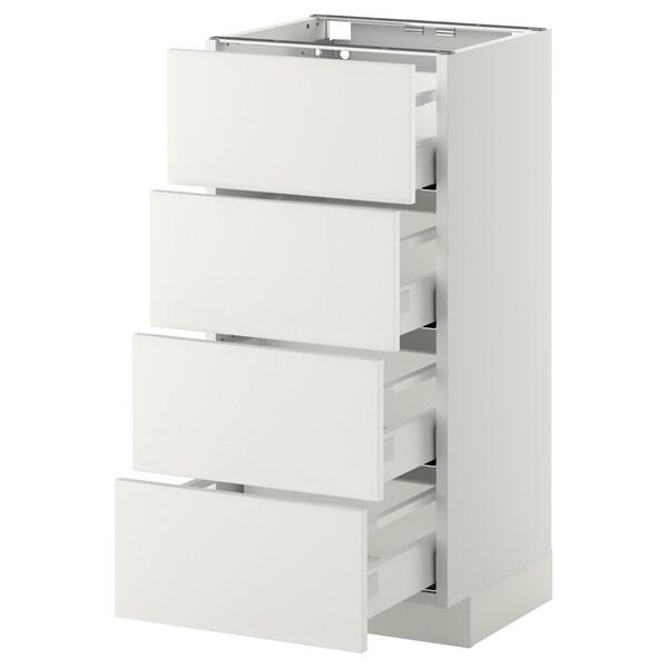 METOD Base cab 4 frnts/4 drawers, white Maximera/Häggeby white, 40x37x80 cm