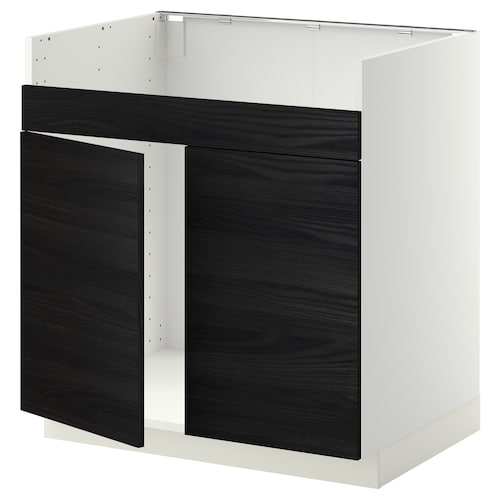 METOD base cab f HAVSEN double bowl sink white/Tingsryd black 80.0 cm 60 cm 61.6 cm 80.0 cm