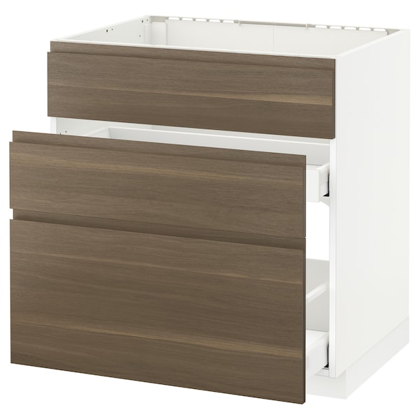METOD Base cab f sink+3 fronts/2 drawers, white Maximera/Voxtorp walnut, 80x60x80 cm