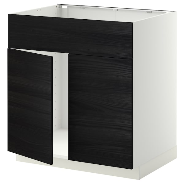 METOD Base cabinet f sink w 2 doors/front, white/Tingsryd black, 80x60x80 cm