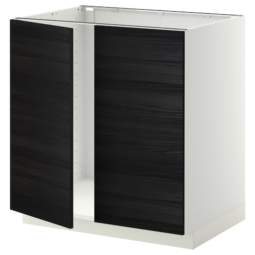 METOD base cabinet for sink + 2 doors white/Tingsryd black 80.0 cm 60 cm 61.6 cm 80.0 cm