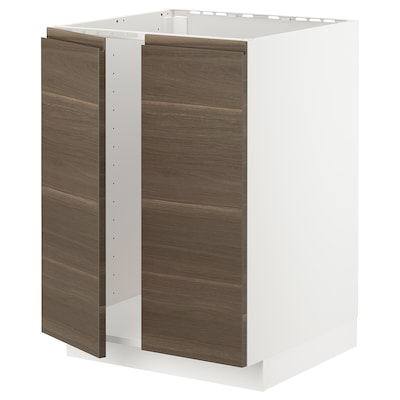 METOD Base cabinet for sink + 2 doors, white/Voxtorp walnut effect, 60x60x80 cm