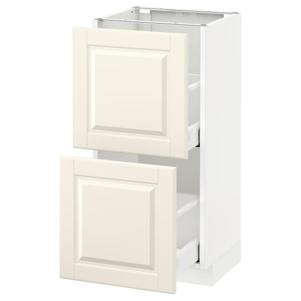 METOD Base cabinet with 2 drawers, white Maximera/Bodbyn off-white, 40x37x80 cm