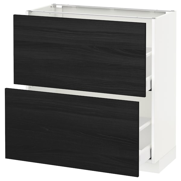 METOD Base cabinet with 2 drawers, white Maximera/Tingsryd black, 80x37x80 cm