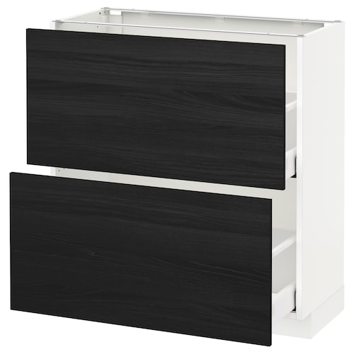 METOD base cabinet with 2 drawers white Maximera/Tingsryd black 80.0 cm 37 cm 38.6 cm 80.0 cm