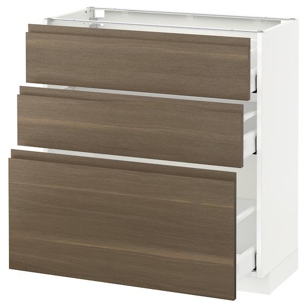 METOD Base cabinet with 3 drawers, white Maximera/Voxtorp walnut, 80x37x80 cm