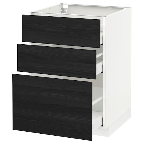 METOD base cabinet with 3 drawers white Maximera/Tingsryd black 60.0 cm 60 cm 61.6 cm 80.0 cm