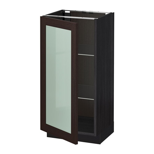 Metod base cabinet with glass door wood effect black ikea for Wood effect kitchen cupboards