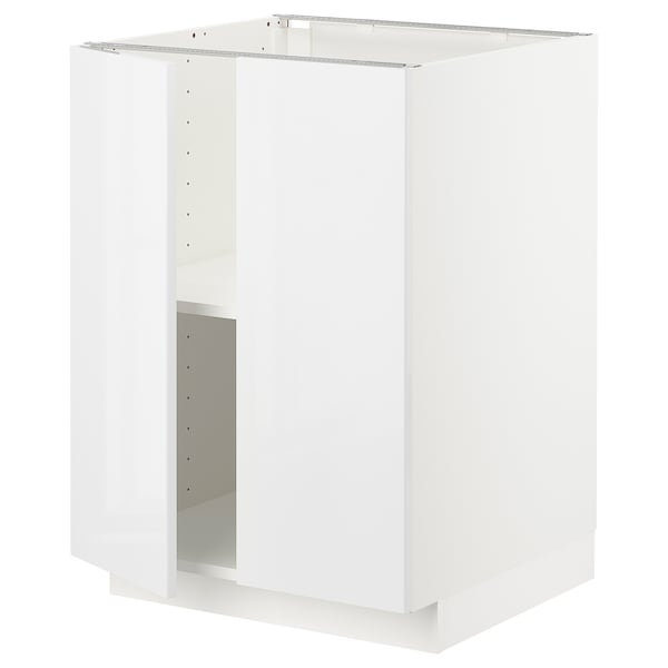 METOD Base cabinet with shelves/2 doors, white/Ringhult white, 60x60x80 cm