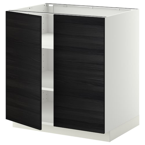 METOD base cabinet with shelves/2 doors white/Tingsryd black 80.0 cm 60 cm 61.6 cm 80.0 cm