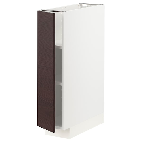 METOD Base cabinet with shelves, white Askersund/dark brown ash effect, 20x60x80 cm