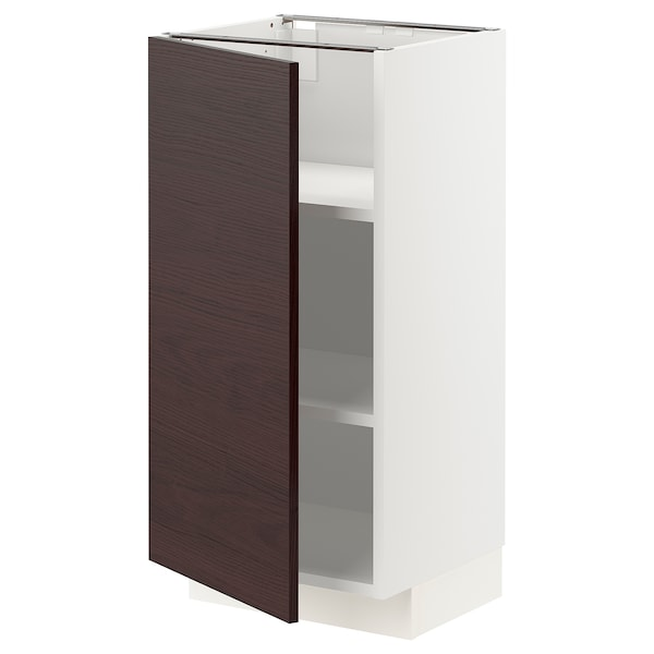 METOD Base cabinet with shelves, white Askersund/dark brown ash effect, 40x37x80 cm