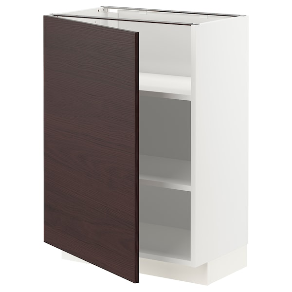 METOD Base cabinet with shelves, white Askersund/dark brown ash effect, 60x37x80 cm