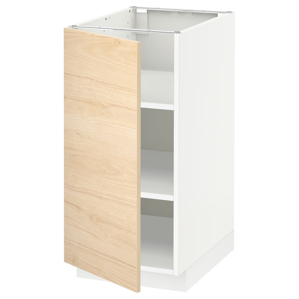 METOD Base cabinet with shelves, white/Askersund light ash effect, 40x60x80 cm