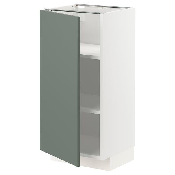 METOD Base cabinet with shelves, white/Bodarp grey-green, 40x37x80 cm
