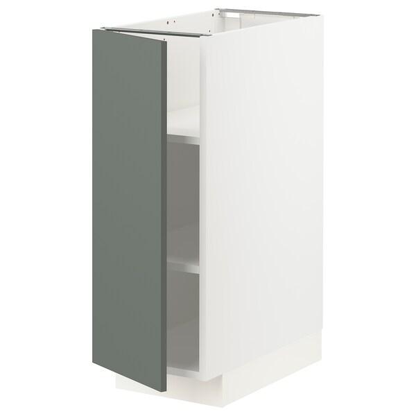 METOD Base cabinet with shelves, white/Bodarp grey-green, 30x60x80 cm