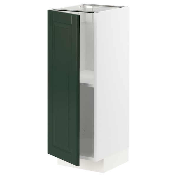 METOD Base cabinet with shelves, white/Bodbyn dark green, 30x37x80 cm