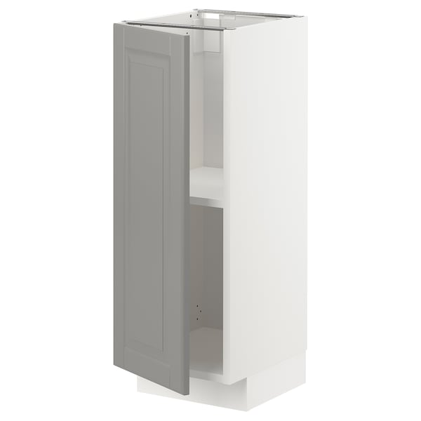 METOD Base cabinet with shelves, white/Bodbyn grey, 30x37x80 cm