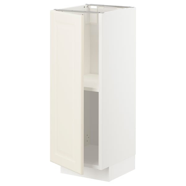 METOD Base cabinet with shelves, white/Bodbyn off-white, 30x37x80 cm
