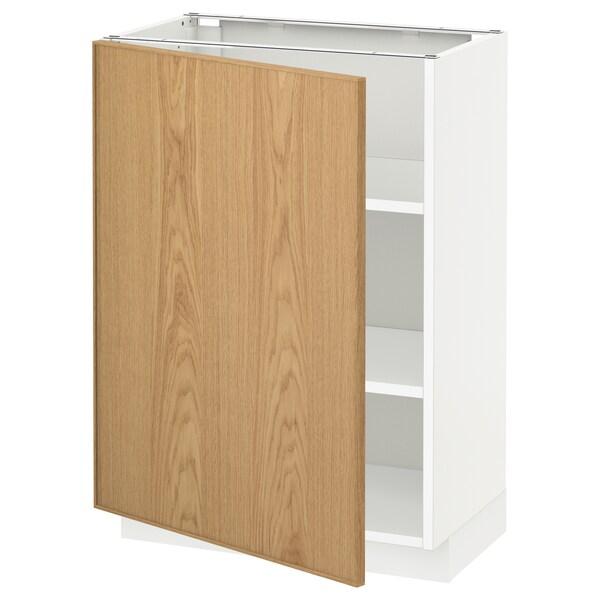 METOD Base cabinet with shelves, white/Ekestad oak, 60x37x80 cm