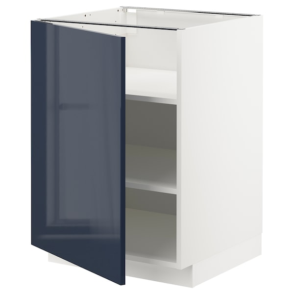 METOD Base cabinet with shelves, white/Järsta black-blue, 60x60x80 cm
