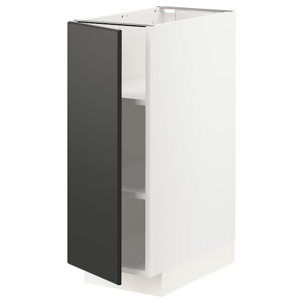 METOD Base cabinet with shelves, white/Kungsbacka anthracite, 30x60x80 cm