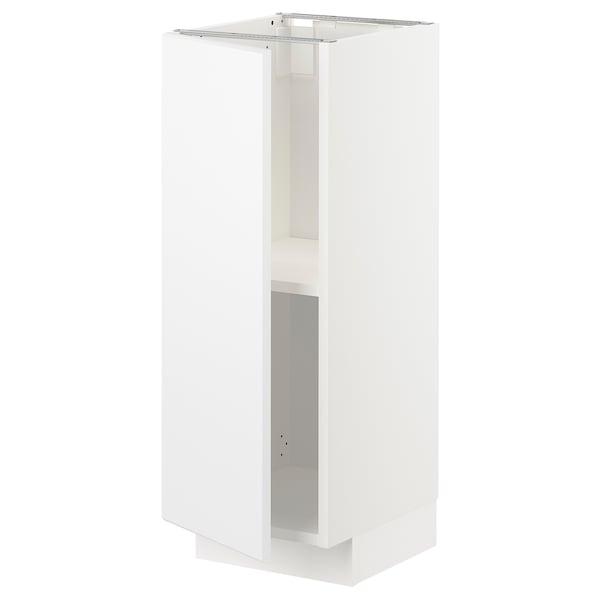 METOD Base cabinet with shelves, white/Kungsbacka matt white, 30x37x80 cm
