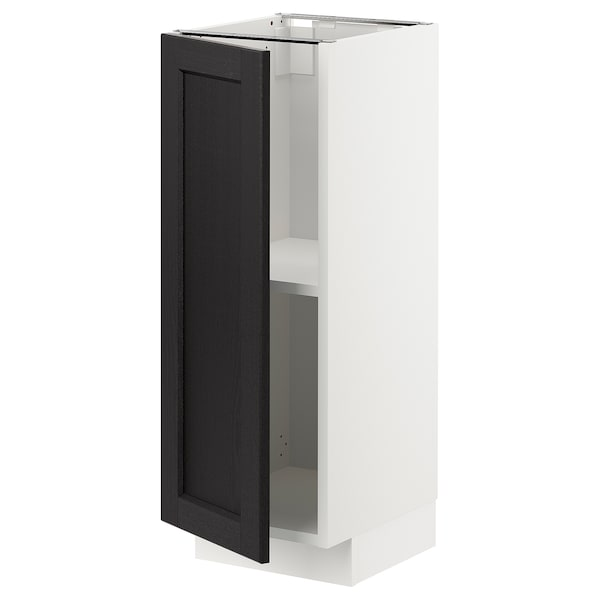 METOD Base cabinet with shelves, white/Lerhyttan black stained, 30x37x80 cm