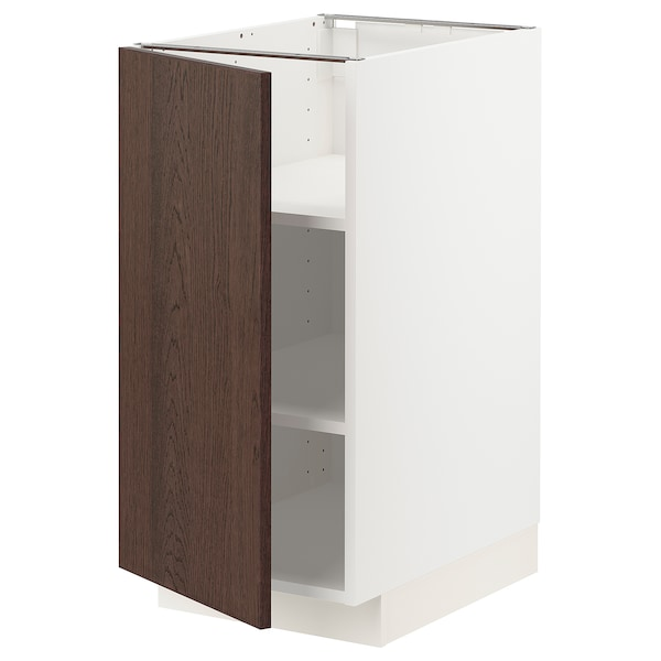 METOD Base cabinet with shelves, white/Sinarp brown, 40x60x80 cm