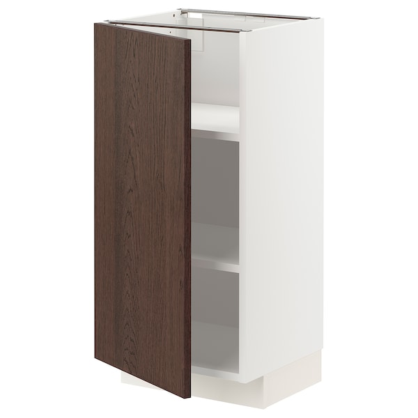 METOD Base cabinet with shelves, white/Sinarp brown, 40x37x80 cm