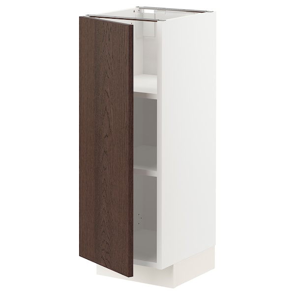 METOD Base cabinet with shelves, white/Sinarp brown, 30x37x80 cm