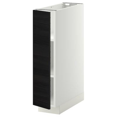 METOD Base cabinet with shelves, white/Tingsryd black, 20x60x80 cm