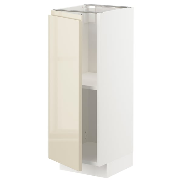 METOD Base cabinet with shelves, white/Voxtorp high-gloss light beige, 30x37x80 cm