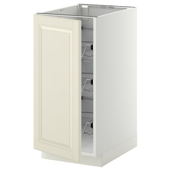 METOD Base cabinet with wire baskets, white/Bodbyn off-white, 40x60x80 cm