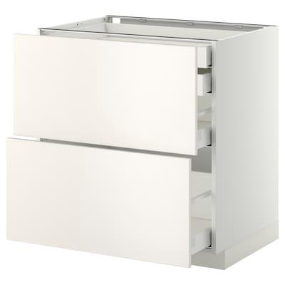 METOD Base cb 2 frnts/2 low/1 md/1 hi drw, white Maximera/Veddinge white, 80x60x80 cm