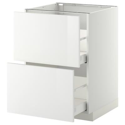 METOD Base cb 2 fronts/2 high drawers, white Maximera/Ringhult white, 60x60x80 cm
