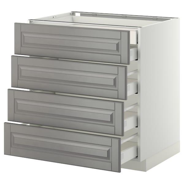 METOD Base cb 4 frnts/2 low/3 md drwrs, white Maximera/Bodbyn grey, 80x60x80 cm