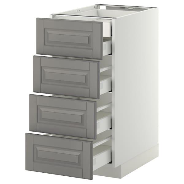 METOD Base cb 4 frnts/2 low/3 md drwrs, white Maximera/Bodbyn grey, 40x60x80 cm